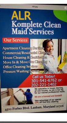 Avatar for ALR Komplete clean maid service