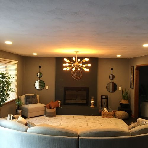 Recessed lighting and chandelier installation.