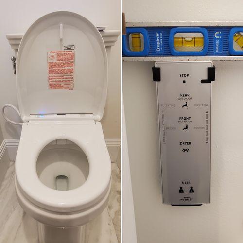 Toilet bidet seat install