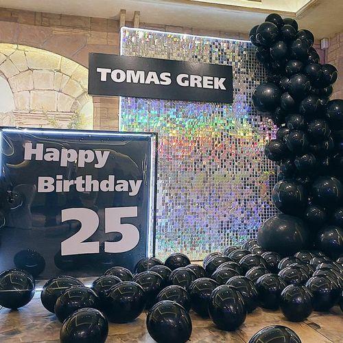 sequins wall $400, balloons garland $365, banner $250