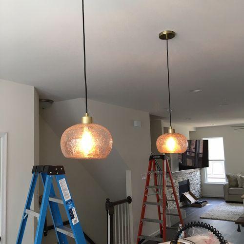 Pendant lighting installation.
