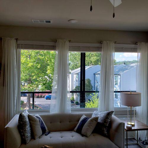 "Window Treatments: Short rods & 104"" panels"