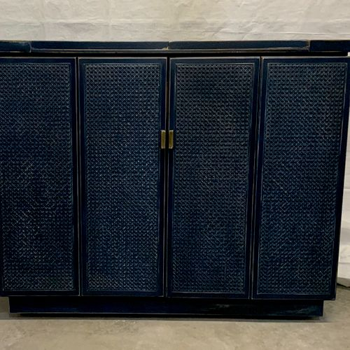 Antique bar. Navy blue paint. Distressed and waxed