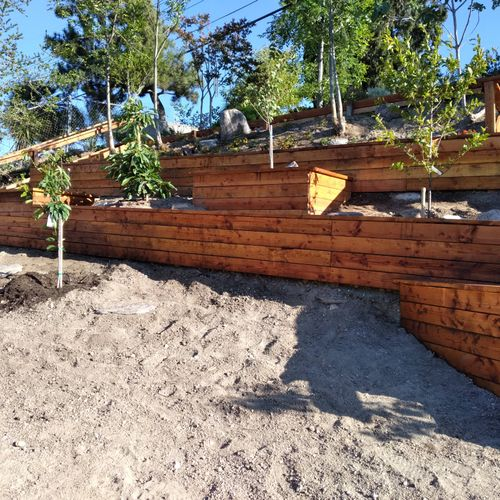 retaining wall with wood planters