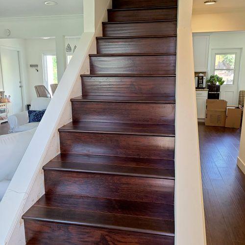 stairs clad in laminate flooring