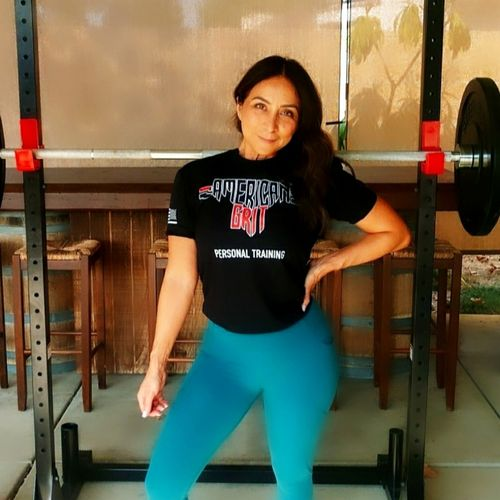 Client (Silvia) Rocking the American Grit Tee