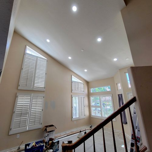 recessed lights and fan/chandelier box