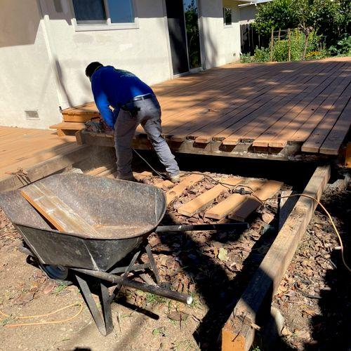 deck demolition  Before