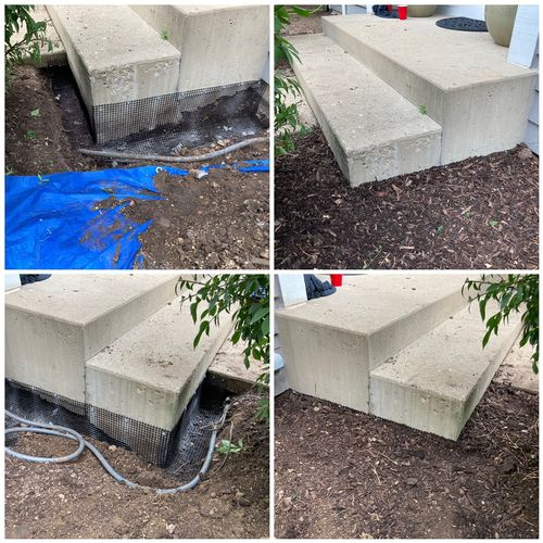 Family of skunks nesting under concrete entryway. Underground Fencing Installed post removal.