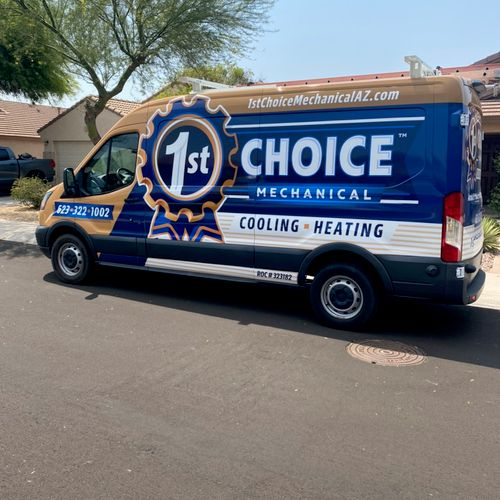 Company van in front of a customers house during a service call!