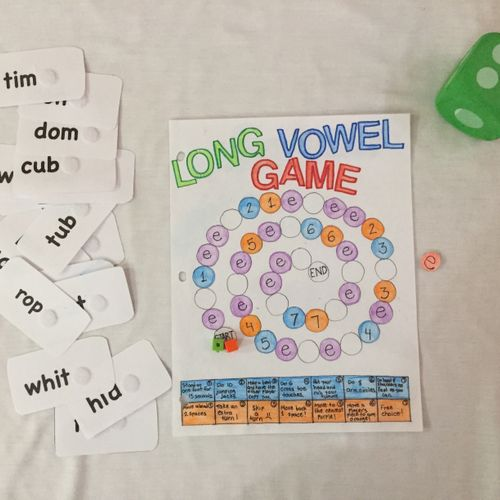 In-person Game: move around the game board and read words on cards. If you land on an e space, read word with a long vowel sound.
