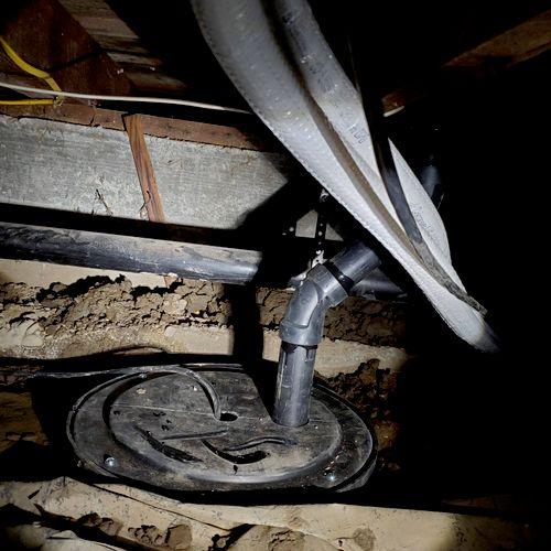 Sump pump addition in crawlspace