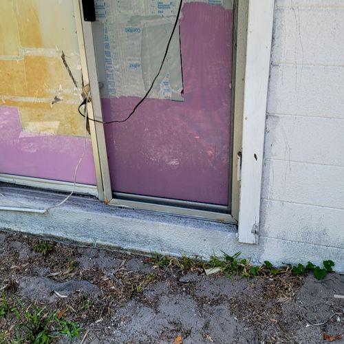 before patio door installation
