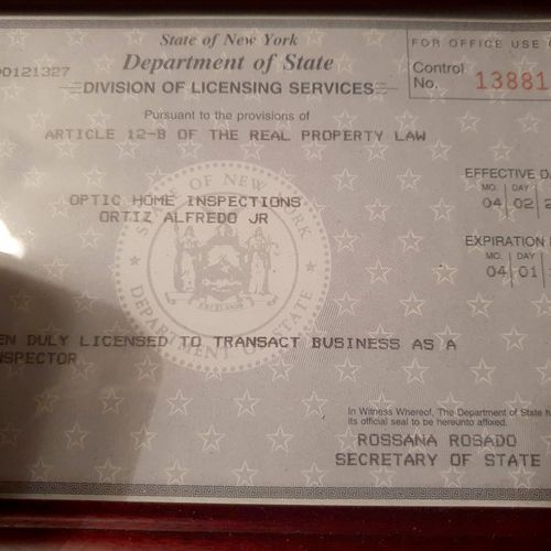 My NYS Home Inspectors License