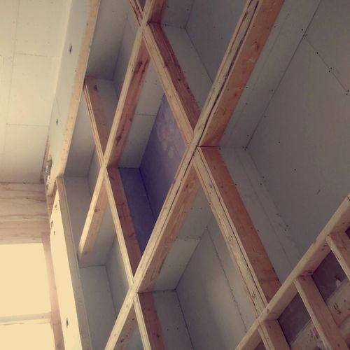 high ceiling frame and drywall