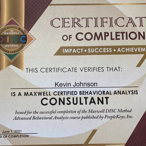 DISC certification as a consultant - 2021.