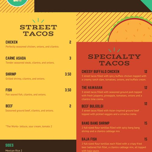 Tex Mex menu options