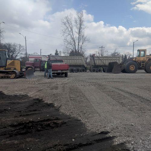stone parking lot installation
