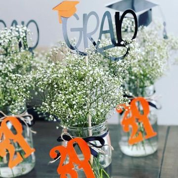 Custom made Grad centerpiece and toppers