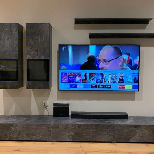 TV hanging, in-wall cables concealment and floating shelves, cabinets mounting.