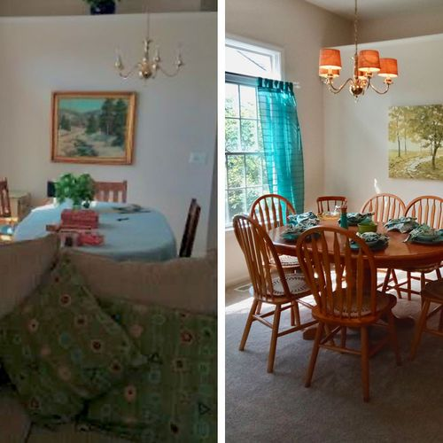 Dining room before & after