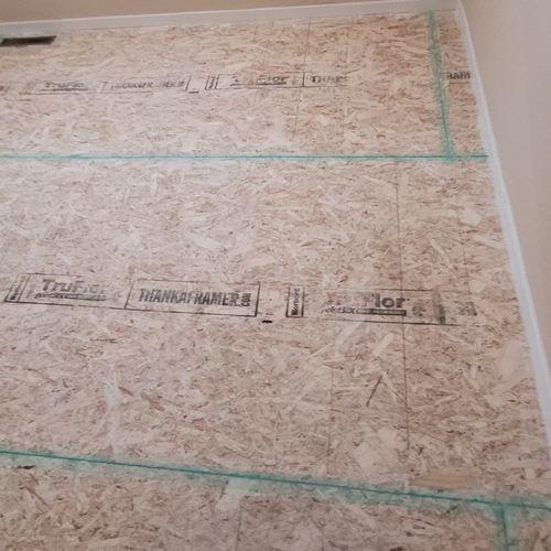 Preping floor for LVT flooring