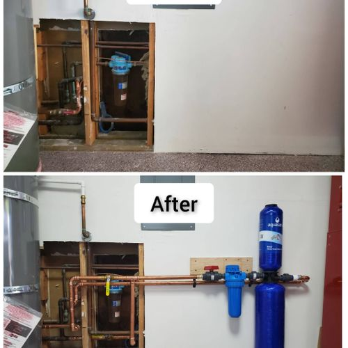 Whole house water filtration install.