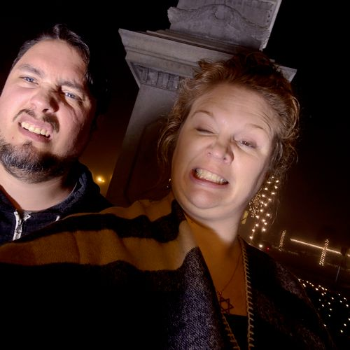 Me and The HunnyFace being silly on a foggy night in St. Augustine, FL.