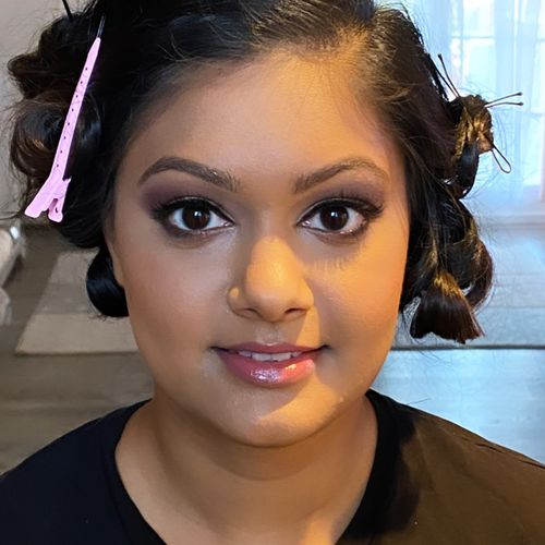 Makeup & hair by me (hair pinned until ready for party)