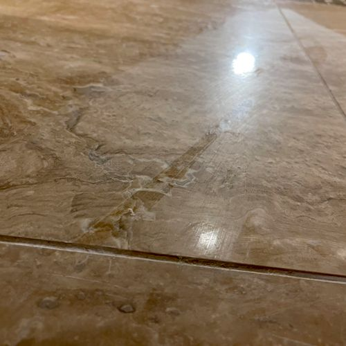 Before grout/sealer haze buffing
