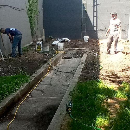Making concrete base for deck