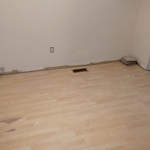 Old flooring ready for demolition