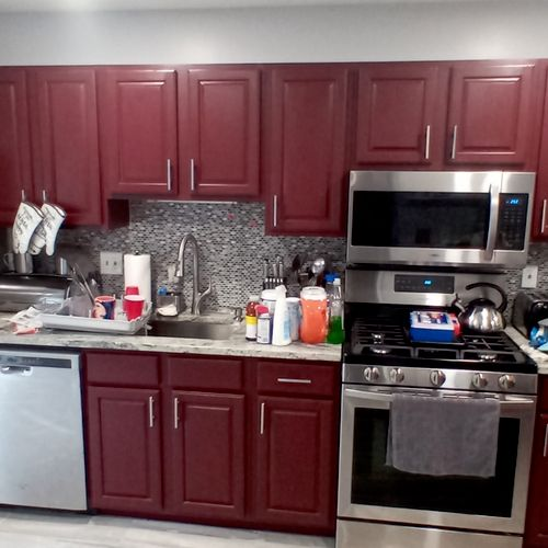 After redoing cabinets, installation of stove and microwave