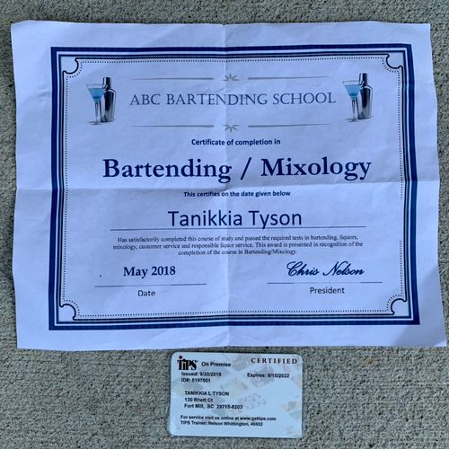 ABC Bartending Certificate and TIPS Certified