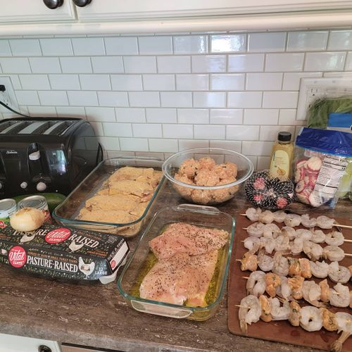 chicken cordon blue, turkey meatballs, marinated chicken breast, shrimp and chicken sausage skewers, all for a client who doesn't eat  red meat