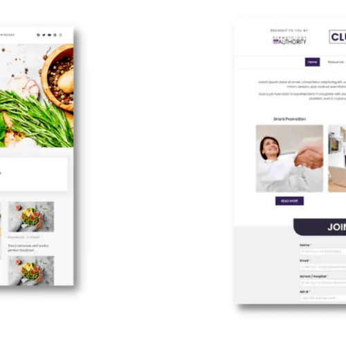 Website created for a recipe website and for a dermatology resource center