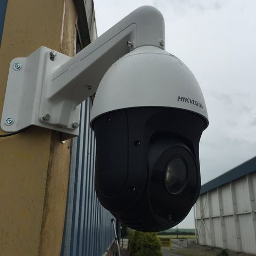 45x Hikvision PTZ camera, with a corner mount install.