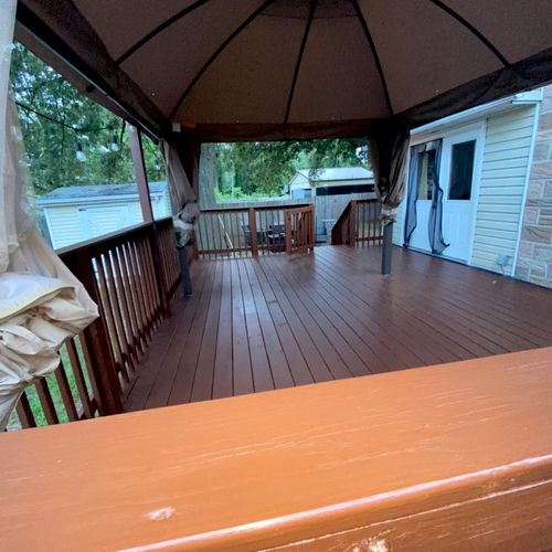 Semi Transparent Stain applied on this deck after power washing