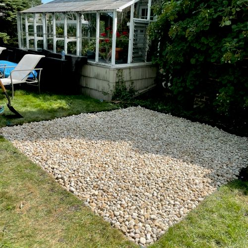 Gravel pad to support a hot tub.