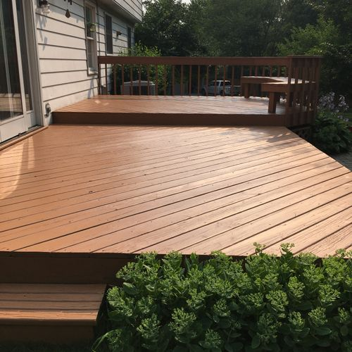 Regular maintenance and staining protects and extends the life of your deck. $700-$900
