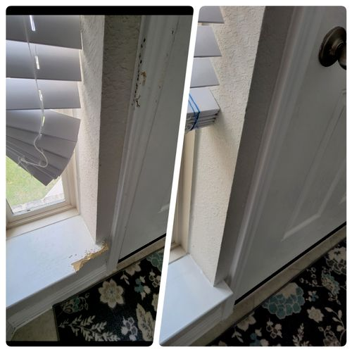 repaired 'Governor's' act 🐕  - replacement door trim and window sill