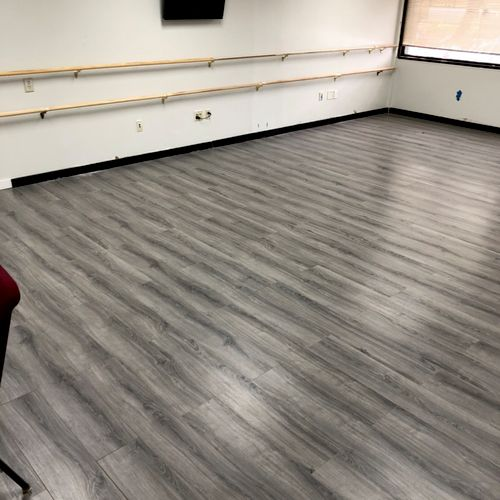 Rails and flooring for dance studio