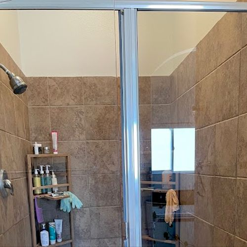Shower Doors After Hard Water Stain Removal