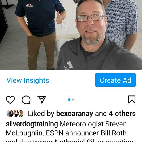 meteorologist Stephen McLoughlin ESPN announcer Bill Roth and Nathaniel Silver shooting for NBC follow on Instagram