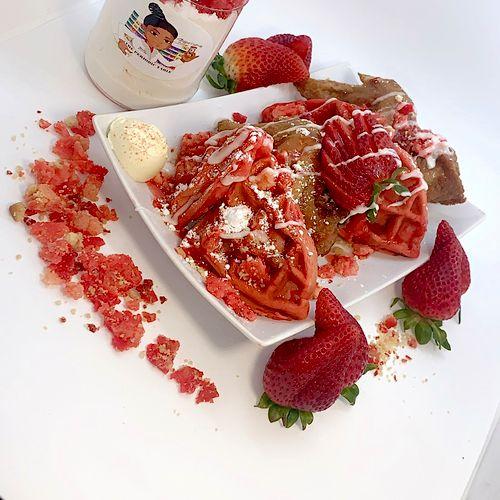 Strawberry crunch chicken and waffles