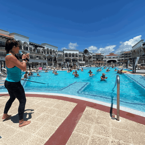 Teaching water fitness in Mexico
