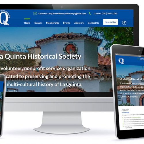 One Page Website for La Quinta Historical Society the website has on-page SEO