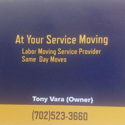 Avatar for At Your Service Moving(WE DO NOT OFFER A TRUCK)