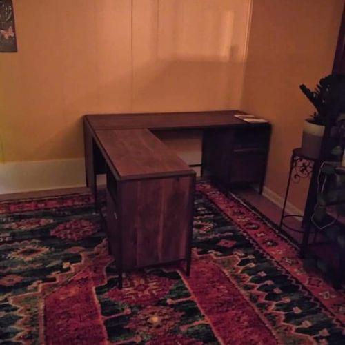 Home Office - L-Shape desk after assembly