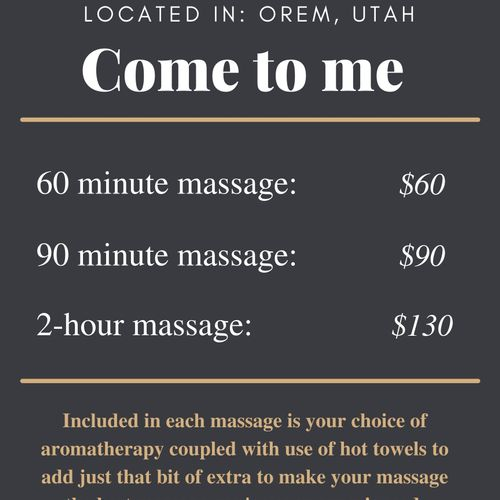 This is the price sheet if you come to me in Orem.